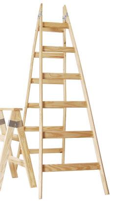 escaleras y caballetes de madera