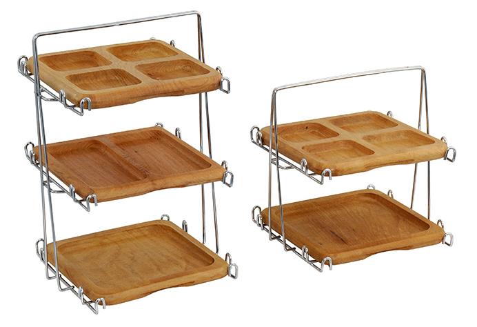 Comprar Copetinero de dos pisos de madera natural