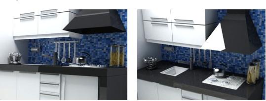 de Mueble de cocina en melamina blanca con o sin cantos de aluminio