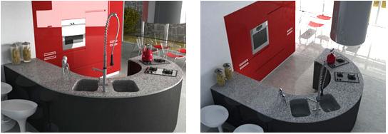 Comprar Mueble de cocina laqueado blanco, negro y rojo