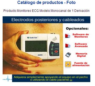 Comprar Producto:Monitoreo ECG Modelo:Monocanal de 1 Derivación