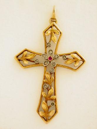 Comprar Cruz Art Nouveau de Oro 18K