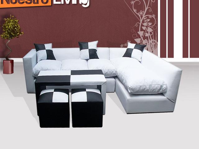 Sofa esquinero + Mesa guardapuff + 2 Puff