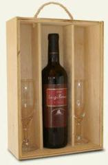 Caja de madera para una botella de vino y 2 copas