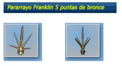Pararrayo Franklin 5 puntas de bronce