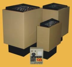 Calefactores eléctricos para baño o sauna con tablero de control, termometros, hygrometros y reloj de arena