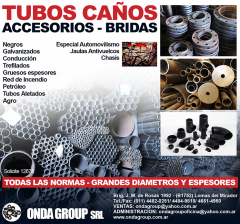 TUBOS DE ACERO S/COSTURA,  CAÑOS DE ACERO C/COSTURA, BRIDAS Y ACCESORIOS PARA TUBERIAS