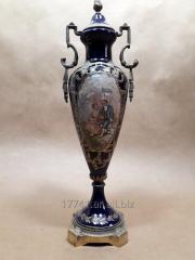 Ánfora De Porcelana Decorada Cobalto Y Oro Estilo Sevres
