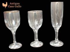 Cristalería - Copas Línea Facetada Oro