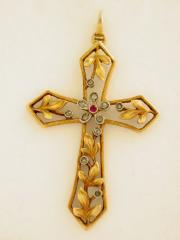 Cruz Art Nouveau de Oro 18K
