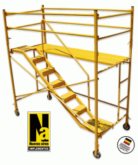 Scaffoldings, trestle work, step ladders, portable