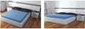 Cama para colchón embutido con respaldo en laqueado blanco y gris