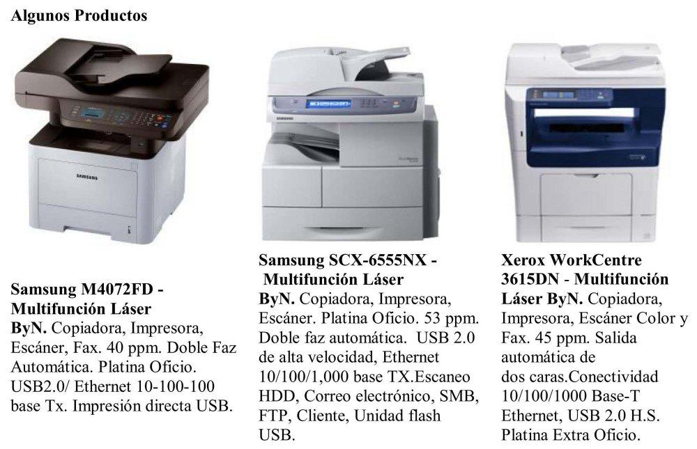 Pedido Multifunción, Impresoras, Fotocopiadoras, Informática