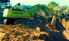 Earthwork, digging of foundation areas, reservoirs